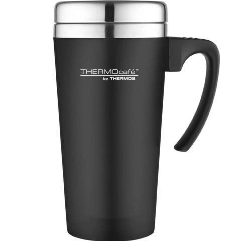Black Non-Slip Soft Touch Thermos Car Travel Cup Mug